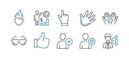 Set of People icons, such as Like, Click hand, Add user, Heart flame, Eyeglasses, Security, Medical tablet, Employees wealth, Hand, Third party line icons. Thumbs up, Direction finger. Vector