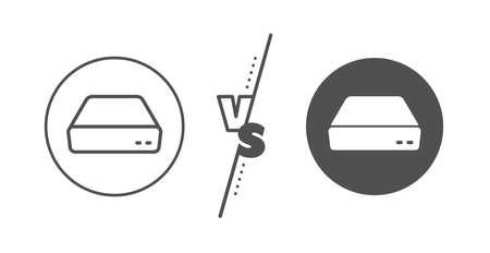 Small computer device sign. Versus concept. Mini pc line icon. Line vs classic mini pc icon. Vector