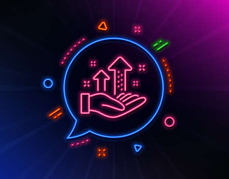 Analysis graph line icon. Neon laser lights. Results chart sign. Traffic management symbol. Glow laser speech bubble. Neon lights chat bubble. Banner badge with analysis graph icon. Vector Иллюстрация