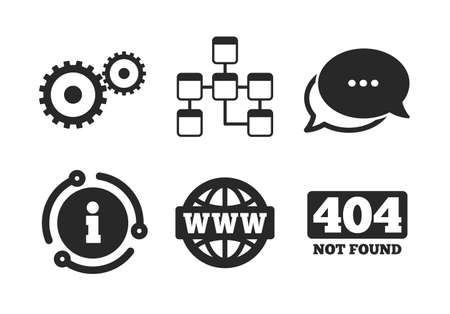 Internet globe and gear signs. Chat, info sign. Website database icon. 404 page not found symbol. Under construction. Classic style speech bubble icon. Vector Çizim