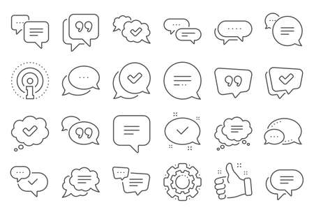 Chat and quote line icons. Approved, Checkmark box and Social media message. Chat speech bubble, Tick or check mark, Comment quote icons. Think, approved talk, speech bubble. Line signs set. Vector