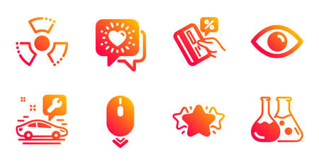 Star, Eye and Friends chat line icons set. Scroll down, Credit card and Chemical hazard signs. Car service, Chemistry lab symbols. Favorite, View or vision. Technology set. Vector