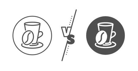 Hot latte sign. Versus concept. Coffee cup with bean line icon. Tea drink mug symbol. Line vs classic coffee cup icon. Vector