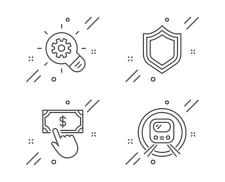 Cogwheel, Security and Payment click line icons set. Metro subway sign. Idea bulb, Protection shield, Financial transfer. Underground. Technology set. Line cogwheel outline icon. Vector Çizim