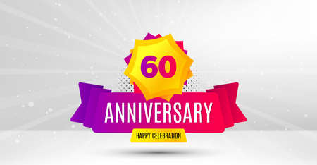 60 years anniversary. Birthday celebration party badge. Sixty years celebrating icon. Anniversary event template banner. Happy celebration badge. Vector