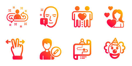 Recruitment, Love and Journey path line icons set. Touchscreen gesture, Friends couple and Face attention signs. Edit person, Clown symbols. Manager change, Woman in love. People set. Vector Иллюстрация