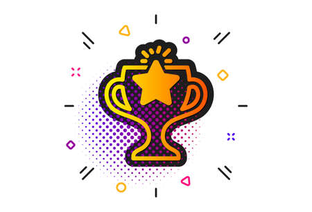 Sport Trophy with Star symbol. Halftone circles pattern. Winner cup icon. Victory achievement or Championship prize sign. Classic flat victory icon. Vector Иллюстрация