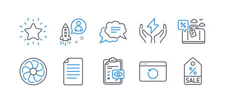 Set of Business icons, such as Travel loan, Recovery internet, Startup, Fan engine, Text message, File, Safe energy, Rank star, Eye checklist, Sale coupon line icons. Line travel loan icon. Vector