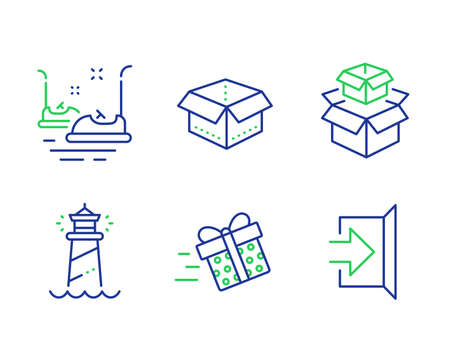 Lighthouse, Packing boxes and Present delivery line icons set. Bumper cars, Open box and Exit signs. Searchlight tower, Delivery box, Shopping service. Carousels. Transportation set. Vector Çizim