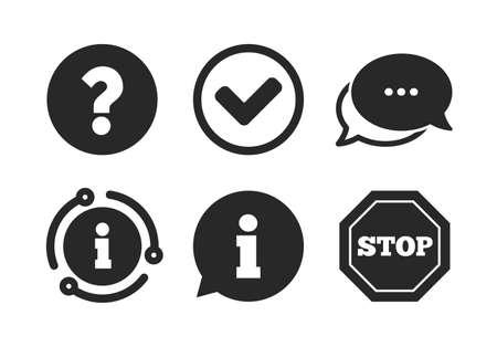 Stoppen Sie das Verbot und stellen Sie die FAQ-Markierungszeichen in Frage. Chat, Infoschild. Informationssymbole. Genehmigtes Häkchensymbol. Sprechblase im klassischen Stil. Vektor