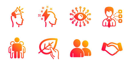 Brand ambassador, Users and Brainstorming line icons set. Third party, Artificial intelligence and Organic tested signs. Group, Handshake symbols. Megaphone, Couple of people. People set. Vector