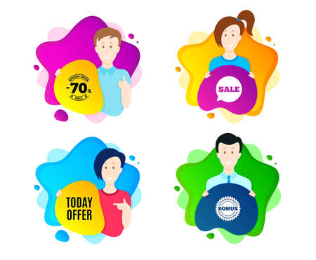 Today offer symbol. People shape offer badge. Special sale price sign. Advertising discounts symbol. Dynamic shape offer. Worker person badge. Cut out people coupon. Today offer text. Vector