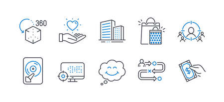 Set of Business icons, such as Journey path, Smile, Buildings, Hold heart, Hdd, Business targeting, Augmented reality, Shopping bags, Seo, Pay money line icons. Project process, Comic chat. Vector