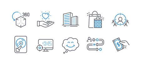 Set van zakelijke pictogrammen, zoals reispad, glimlach, gebouwen, houd hart, hdd, zakelijke targeting, augmented reality, boodschappentassen, seo, betaal geld lijn pictogrammen. Projectproces, Comic chat. Vector Vector Illustratie