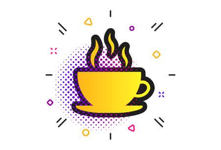 Coffee cup sign icon. Halftone dots pattern. Hot coffee button. Classic flat coffee icon. Vector Illusztráció