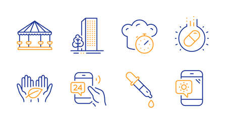 24h service, Cooking timer and Carousels line icons set. Buildings, Capsule pill and Chemistry pipette signs. Fair trade, Weather phone symbols. Call support, Stopwatch. Business set. Vector