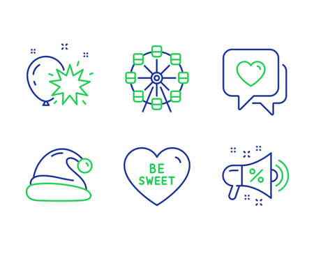 Ferris wheel, Heart and Be sweet line icons set. Balloon dart, Santa hat and Sale megaphone signs. Attraction park, Love chat, Love sweetheart. Christmas. Holidays set. Vector Ilustrace