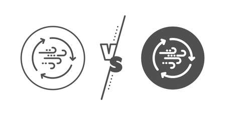 Breeze sign. Versus concept. Wind energy line icon. Ecology power symbol. Line vs classic wind energy icon. Vector