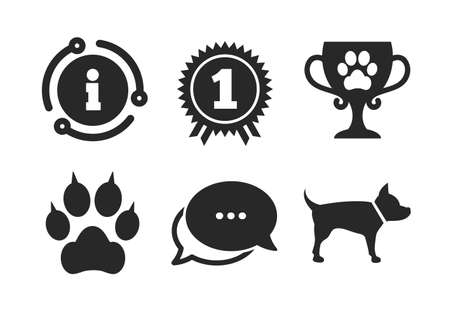 Cat paw with clutches sign. Chat, info sign. Pets icons. Winner cup and medal symbol. Dog silhouette. Classic style speech bubble icon. Vector Illusztráció