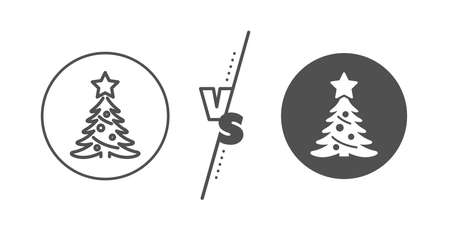 New year spruce sign. Versus concept. Christmas tree present line icon. Fir-tree symbol. Line vs classic christmas tree icon. Vector Ilustração