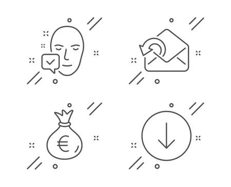 Money bag, Send mail and Face accepted line icons set. Scroll down sign. Euro currency, Sent message, Access granted. Swipe arrow. Business set. Line money bag outline icon. Vector