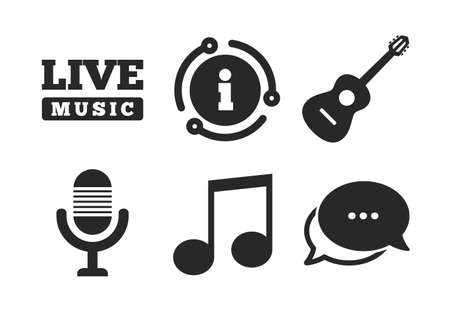 Microphone and Live music symbols. Chat, info sign. Musical elements icons. Music note and acoustic guitar signs. Classic style speech bubble icon. Vector