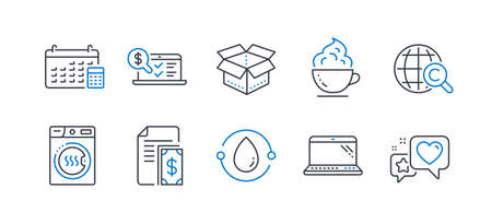 Set of Business icons, such as Payment, Online accounting, Cold-pressed oil, Calendar, Laptop, Coffee cup, International Ð¡opyright, Dryer machine, Open box, Heart line icons. Vector Ilustração