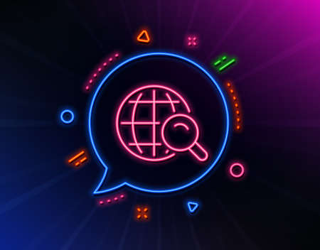 Global Search line icon. Neon laser lights. World or Globe sign. Website search engine symbol. Glow laser speech bubble. Neon lights chat bubble. Banner badge with internet Search icon. Vector Ilustrace