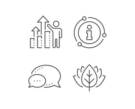 Employee results line icon. Chat bubble, info sign elements. Work result sign. Statistics chart symbol. Linear employee results outline icon. Information bubble. Vector 일러스트