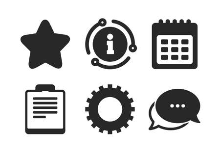 Checklist and cogwheel gear sign symbols. Chat, info sign. Calendar and Star favorite icons. Classic style speech bubble icon. Vector