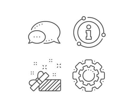 Gift box open line icon. Chat bubble, info sign elements. Christmas or New year present sign. Surprise symbol. Linear present outline icon. Information bubble. Vector