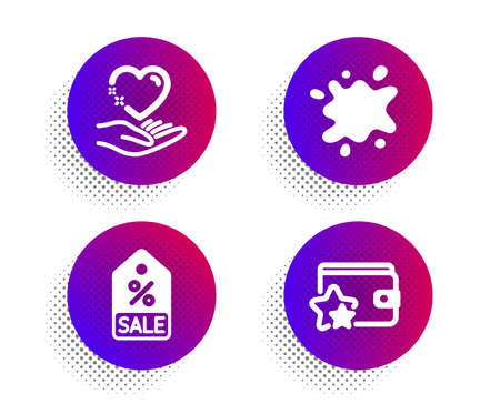 Hold heart, Sale coupon and Dirty spot icons simple set. Halftone dots button. Loyalty program sign. Care love, Discount tag, Laundry service. Bonus wallet. Business set. Vector