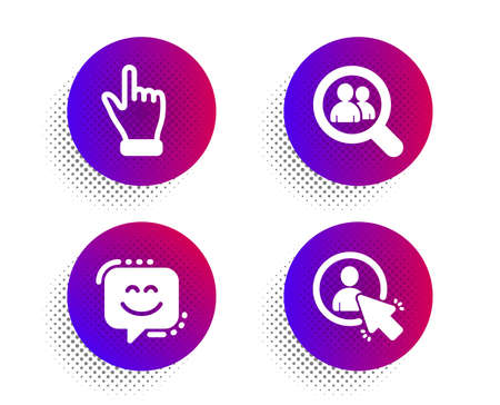 Search employees, Click hand and Smile face icons simple set. Halftone dots button. User sign. Staff analysis, Direction finger, Chat. Project manager. People set. Vector