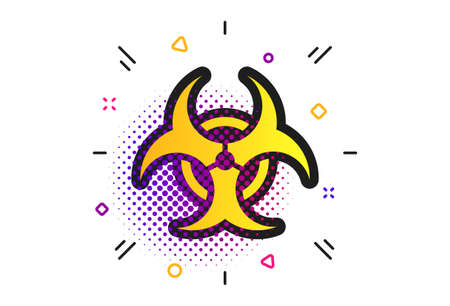 Biohazard sign icon. Halftone dots pattern. Danger symbol. Classic flat biohazard icon. Vector  イラスト・ベクター素材