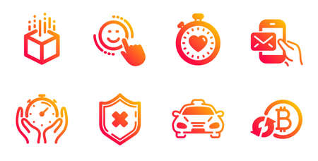 Timer, Taxi and Augmented reality line icons set. Heartbeat timer, Reject protection and Messenger mail signs. Smile, Refresh bitcoin symbols. Deadline management, Public transportation. Vector