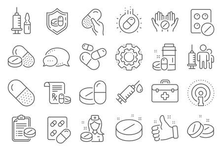 Medical drugs line icons. Healthcare, Prescription and Pill signs. Pharmacy drugs, medical nurse, recipe pill icons. Antibiotic capsule, syringe vaccination, medicine cure. Line signs set. Vector Banco de Imagens - 132244953