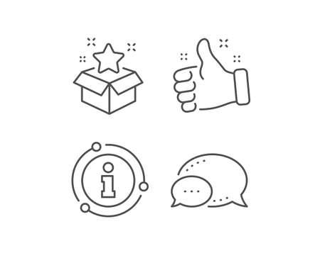 Loyalty program line icon. Chat bubble, info sign elements. Bonus points. Discount box symbol. Linear loyalty program outline icon. Information bubble. Vector Ilustrace