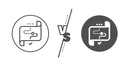 Strategy goal sign. Versus concept. Target path line icon. Core value symbol. Line vs classic target path icon. Vector