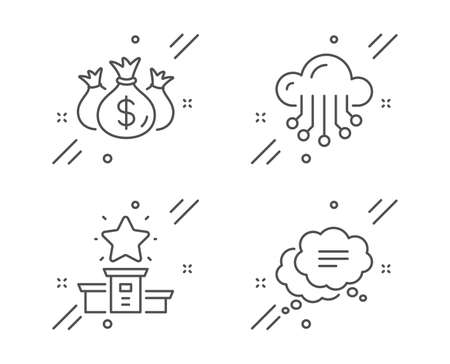 Winner podium, Check investment and Cloud storage line icons set. Text message sign. First place, Business report, Data service. Chat bubble. Technology set. Line winner podium outline icon. Vector
