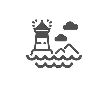 Lighthouse icon. Search light building symbol. Classic flat style. Simple lighthouse icon. Vector