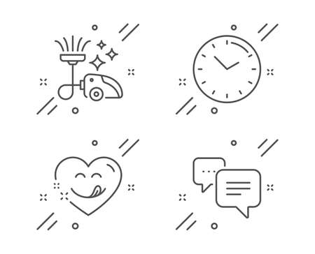 Vacuum cleaner, Time and Yummy smile line icons set. Dots message sign. Vacuum-clean, Clock, Comic heart. Chat bubble. Business set. Line vacuum cleaner outline icon. Vector