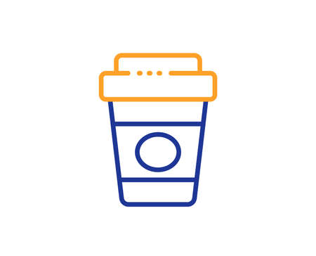 Hot latte cup sign. Takeaway coffee line icon. Tea drink mug symbol. Colorful outline concept. Blue and orange thin line takeaway coffee icon. Vector Ilustrace