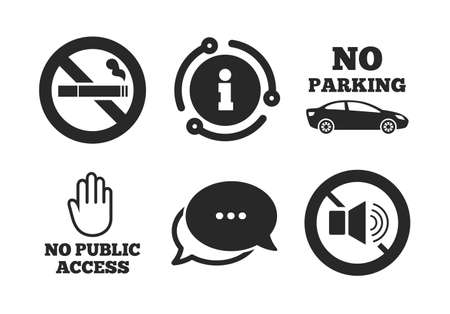 Private territory parking or public access. Chat, info sign. Stop smoking and no sound signs. Cigarette and hand symbol. Classic style speech bubble icon. Vector