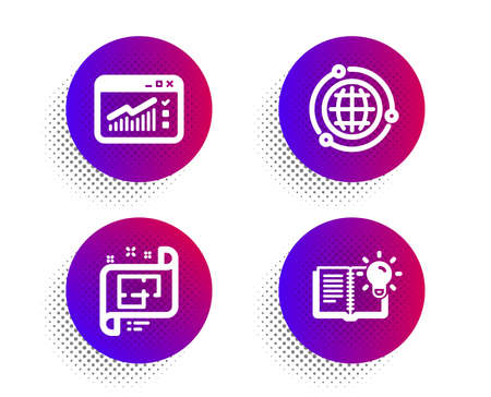 Architectural plan, Globe and Web traffic icons simple set. Halftone dots button. Product knowledge sign. Technical project, Internet world, Website window. Education process. Science set. Vector Illustration