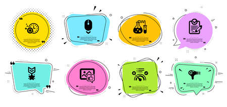 Dishwasher timer, Chemistry lab and Hair dryer line icons set. Chat bubbles with quotes. Winner medal, Scroll down and No internet signs. Like photo, Rfp symbols. Cleaning dishes, Laboratory. Vector Illustration