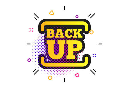 Backup date sign icon. Halftone dots pattern. Storage symbol with arrow. Classic flat backup icon. Vector