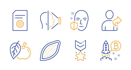 Refer friend, Apple and File settings line icons set. Cocoa nut, Winner medal and Face id signs. Face protection, Bitcoin project symbols. Share, Fruit. Business set. Line refer friend icon. Vector