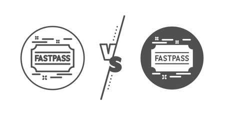 Amusement park ticket sign. Versus concept. Fastpass line icon. Fast track symbol. Line vs classic fastpass icon. Vector Ilustrace
