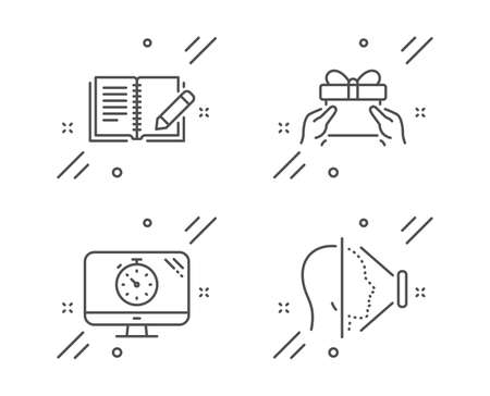 Seo timer, Feedback and Give present line icons set. Face id sign. Analytics, Book with pencil, Receive a gift. Phone scanning. Business set. Line seo timer outline icon. Vector