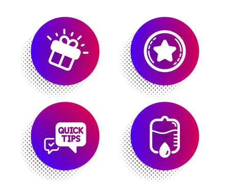 Gift, Quick tips and Loyalty star icons simple set. Halftone dots button. Drop counter sign. Marketing box, Helpful tricks, Bonus reward. Medical equipment. Business set. Vector